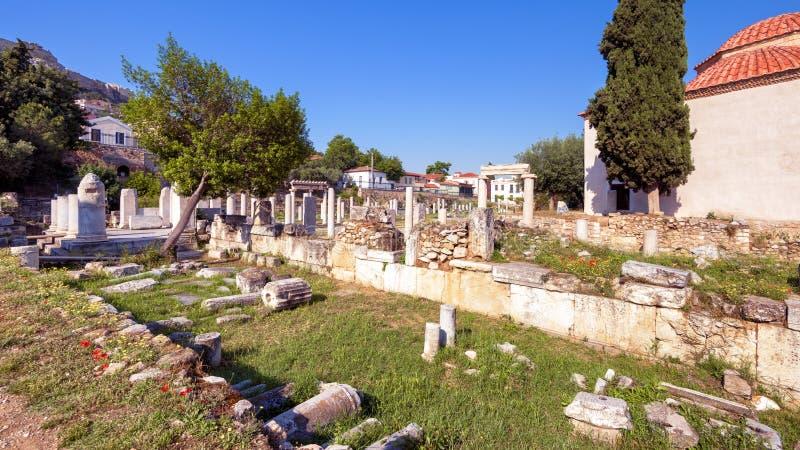 Vue panoramique scénique de Roman Agora, Athènes, Grèce image stock