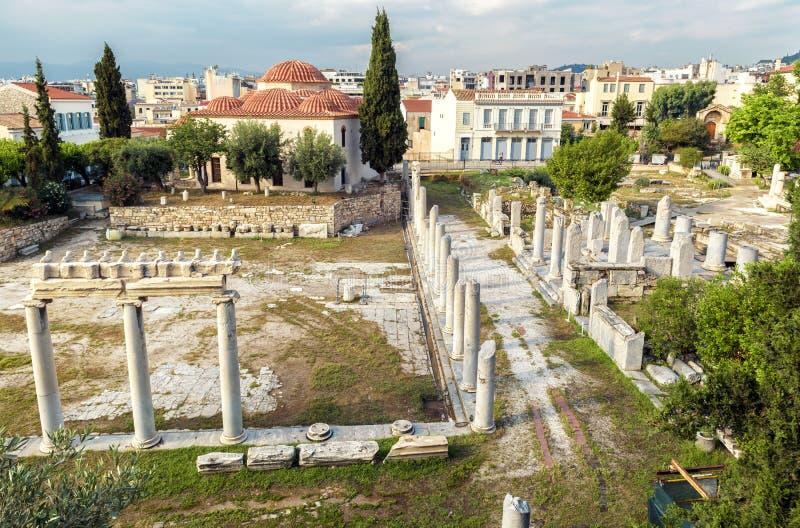 Vue panoramique scénique de Roman Agora d'en haut, Athènes, Gre photo libre de droits