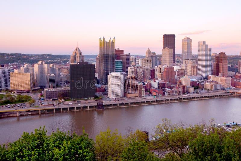 Vue panoramique sur le centre de Pittsburgh photographie stock