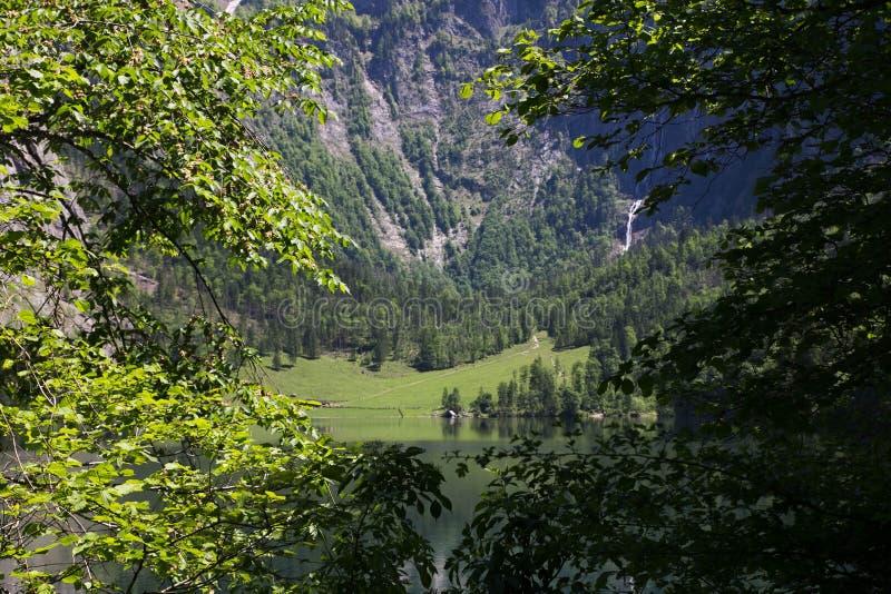 Vue par les branches de vert de ressort des arbres sur un lac alpin dans les montagnes Vue de l'autre côté du lac avec images stock