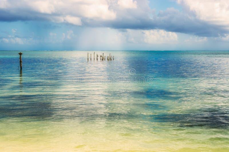 Vue pittoresque de paysage de mer des Caraïbes du matoir de Caye islan images libres de droits