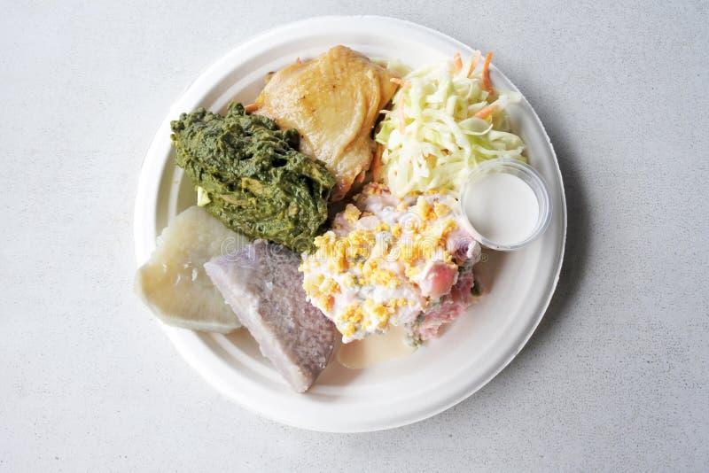 Vue plate de configuration de tradisional de Mainese de salade de pomme de terre d'Island de cuisinier photos stock