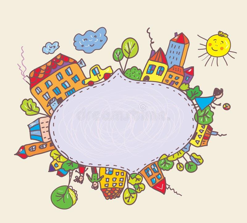 Vue pour des enfants avec la ville et des enfants illustration stock