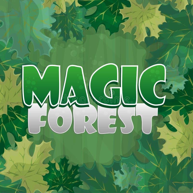 Vue pour la décoration des textes Forêt enchantée avec la feuille d'érable verte - bande dessinée illustration de vecteur