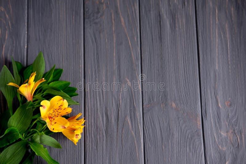 Vue pour le texte des félicitations avec les fleurs jaunes naturelles de l'Alstroemeria sur un fond en bois Carte de voeux de con photo libre de droits