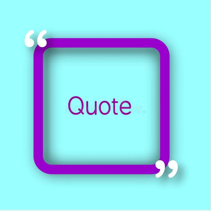 Vue pourpre de papier carré avec des virgules pour votre texte Citez la bulle dans le style réaliste sur le fond bleu lumineux De illustration libre de droits