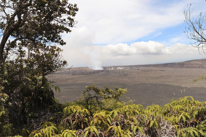 Vue principale de cratère et de caldeira de Kilauea, grande île, Hawaï photos stock