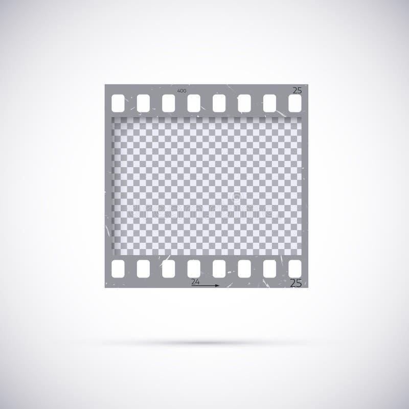Vue réaliste d'extrait de film de 35 millimètres Calibre vide de film négatif de photo de blanck Illustration de vecteur sur le f illustration libre de droits