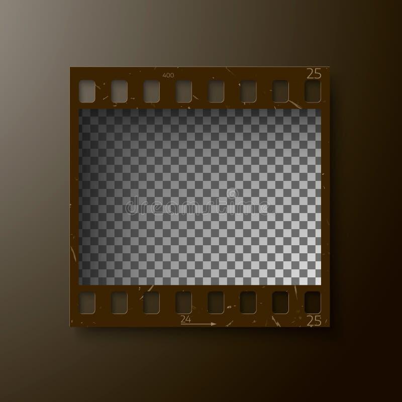 Vue réaliste d'extrait de film de 35 millimètres Film négatif de photo vide de blanck Calibre de petit pain d'appareil-photo Fran illustration stock