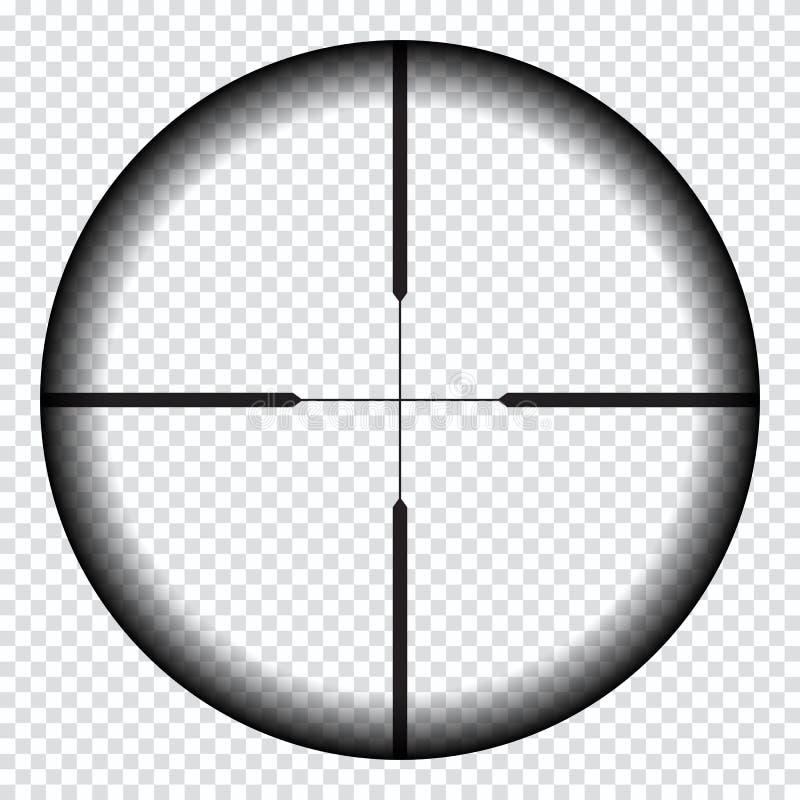 Vue réaliste de tireur isolé avec des marques de mesure Calibre de portée de tireur isolé d'isolement sur le fond transparent illustration stock