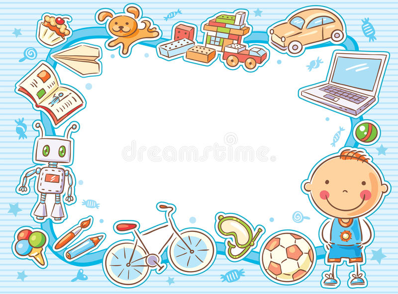 Vue rectangulaire bleue avec un enfant et ses choses illustration stock