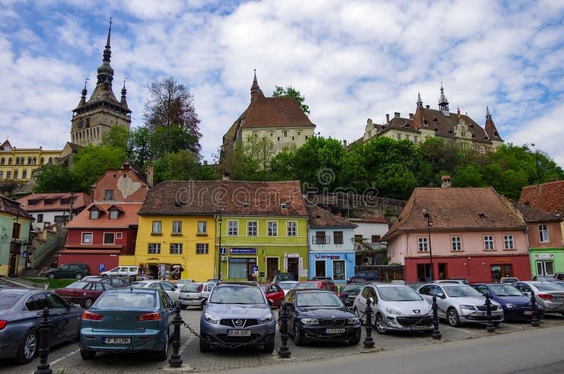 Vue remorquage Roumanie de ville de Sighisoara de vieux image libre de droits