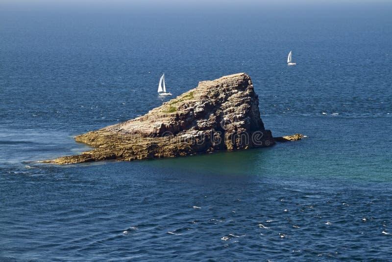 Vue renversante d'Amas du Cap Island près de chapeau Frehel, la Bretagne, F images stock