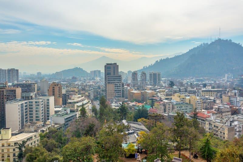 Vue a?rienne de la ville de Santiago Chile photographie stock libre de droits