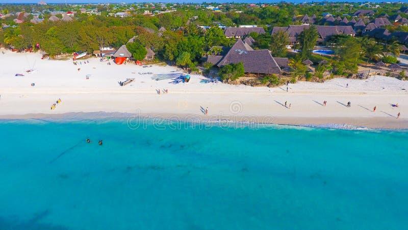 Vue a?rienne de plage de Paradise d'?le tropicale de Zanzibar photo stock