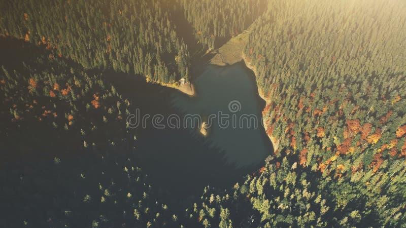 Vue a?rienne de sc?ne en bois de lever de soleil de lac de haute montagne photos libres de droits