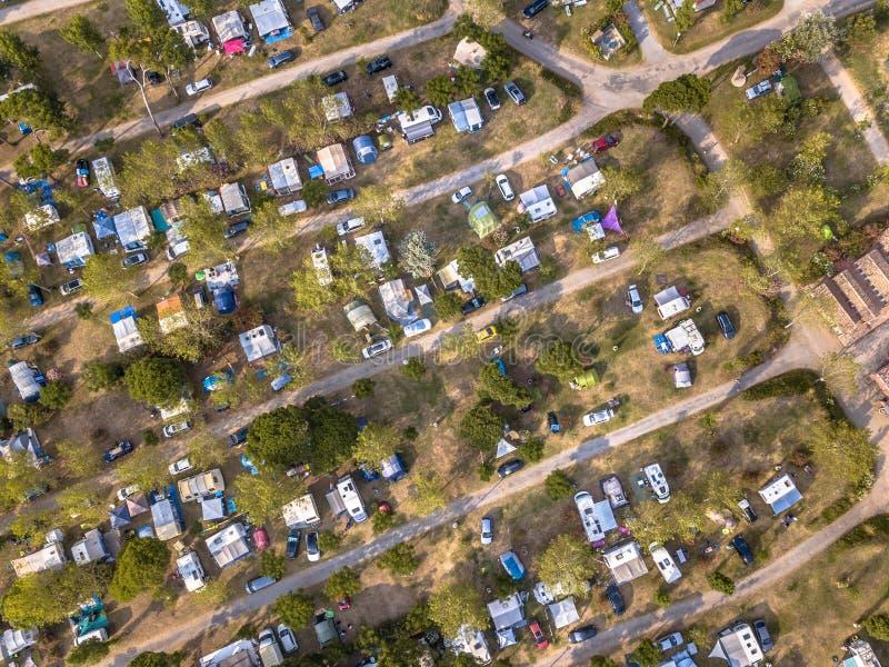 Vue a?rienne de terrain de camping photo libre de droits