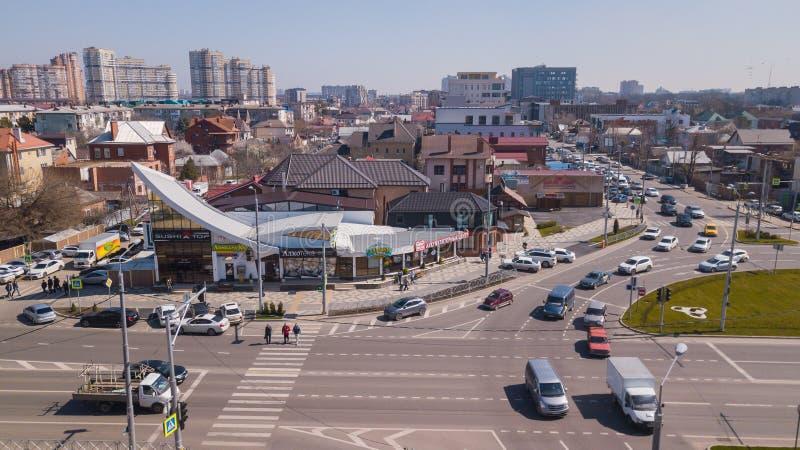 Vue a?rienne de ville de Krasnodar, F?d?ration de Russie, 2019 photo libre de droits