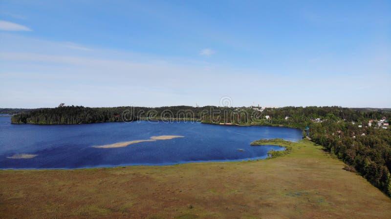 Vue a?rienne des lacs bleus et des for?ts vertes un jour ensoleill? d'?t? dans Kavgolovo, Toksovo Rivage de r?servoir d'eau avec  photo libre de droits