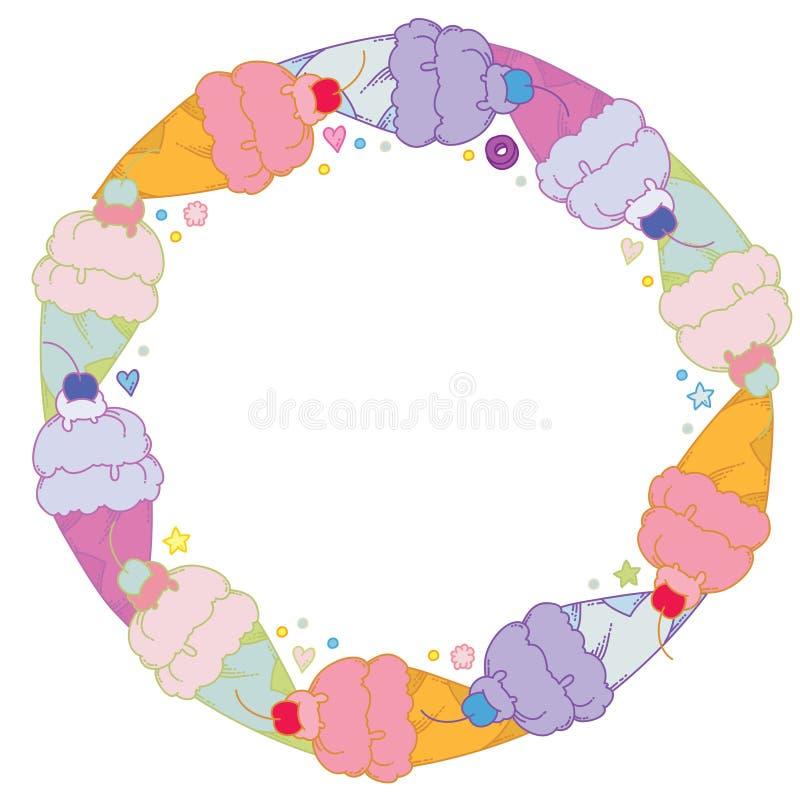 Vue ronde douce avec la crème glacée colorée illustration de vecteur