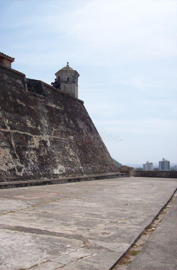 Vue San Felipe Castle à Carthagène photographie stock libre de droits