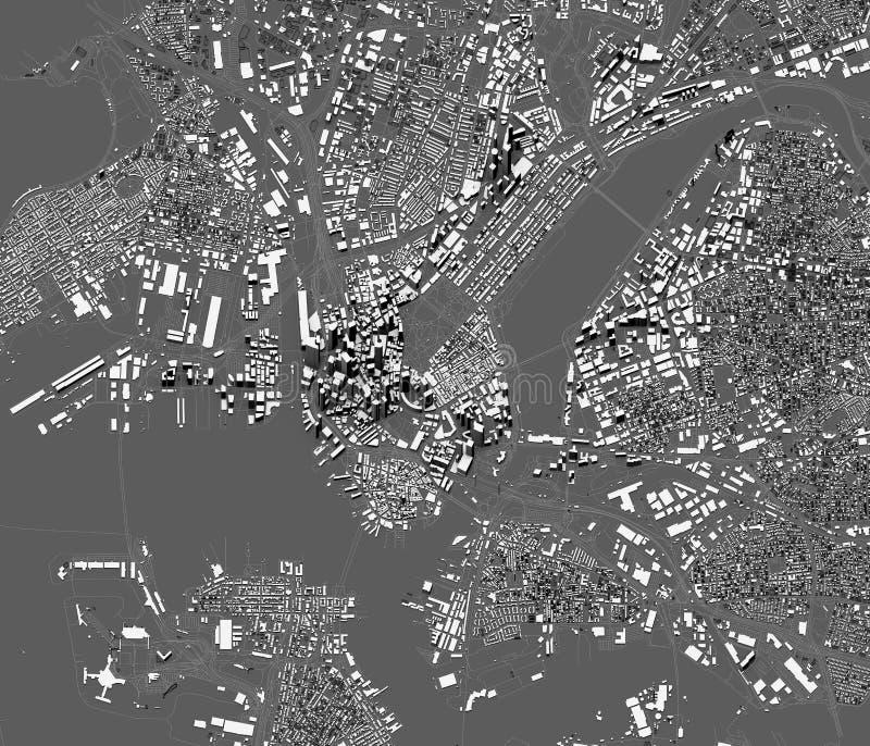 Vue satellite de Boston, carte de la ville avec la maison et le bâtiment Gratte-ciel massachusetts LES Etats-Unis illustration libre de droits