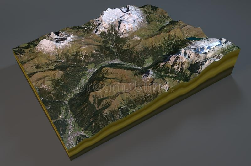 Vue satellite de carte de Canazei, Italie illustration libre de droits