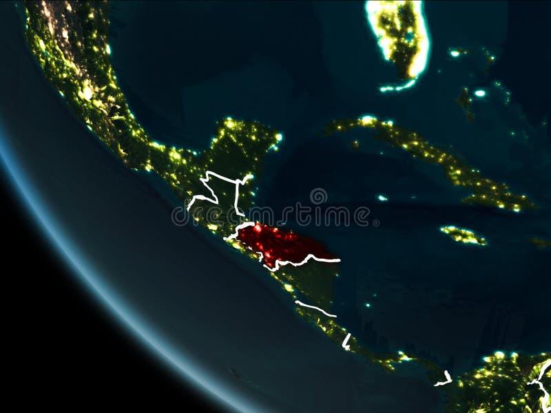 Vue satellite du Honduras la nuit illustration libre de droits