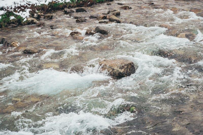 Vue sauvage de rivière de forêt Écoulement d'eau de forêt de rivière Écoulement d'eau de rivière de forêt images libres de droits