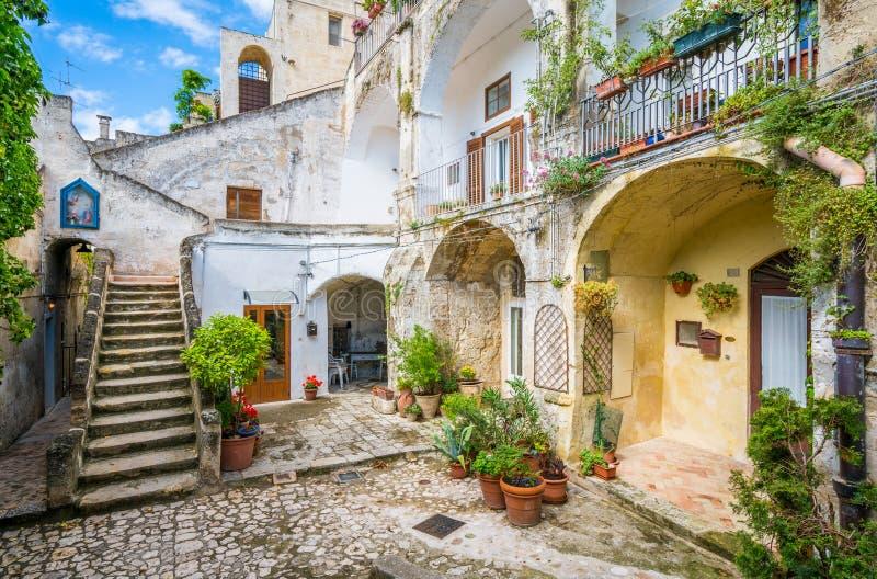 Vue scénique à Matera dans le secteur de ` de Sassi de `, Basilicate, Italie du sud photo stock