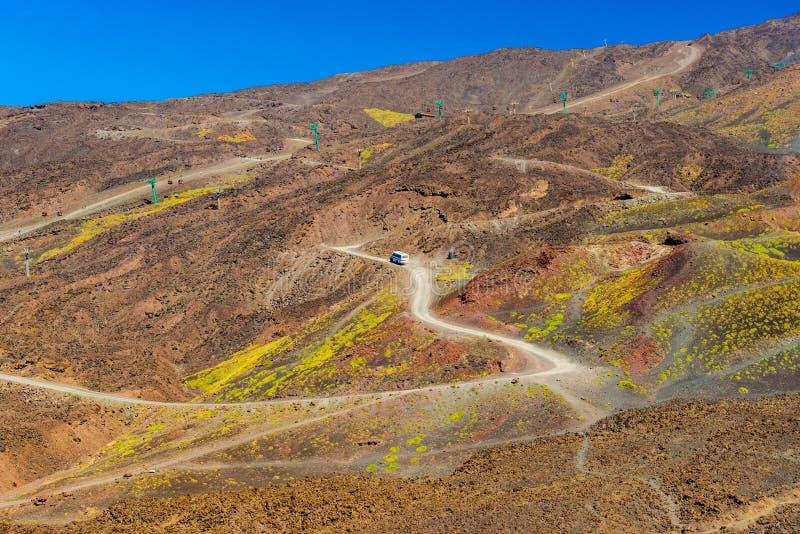 Vue scénique d'une route de montagne avec un autobus se déplaçant au dessus Collines en pierre volcaniques sur le mont Etna La Si images stock