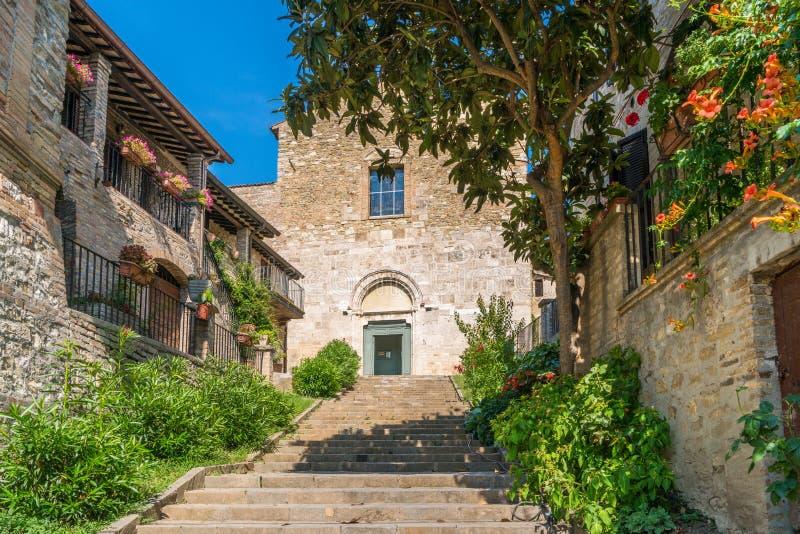 Vue scénique dans Bevagna, ville antique dans la province de Pérouse, Ombrie, Italie centrale photos libres de droits