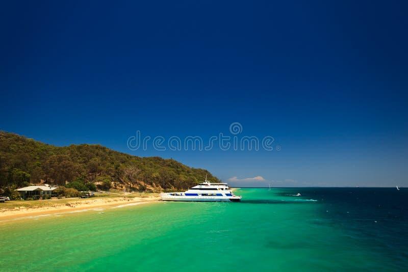 Vue scénique de côte d'île Australie de Moreton photo libre de droits