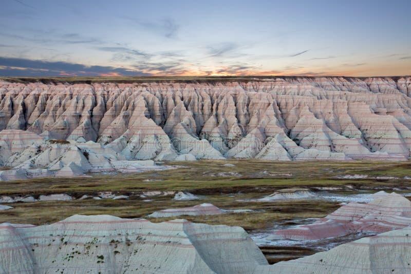 Vue scénique de coucher du soleil des bad-lands du Dakota du Sud photo libre de droits