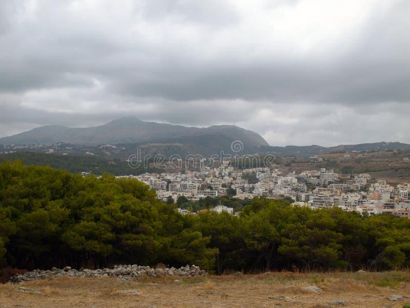 Vue scénique de la ville de Rethymno de la forteresse médiévale Fortezza image stock
