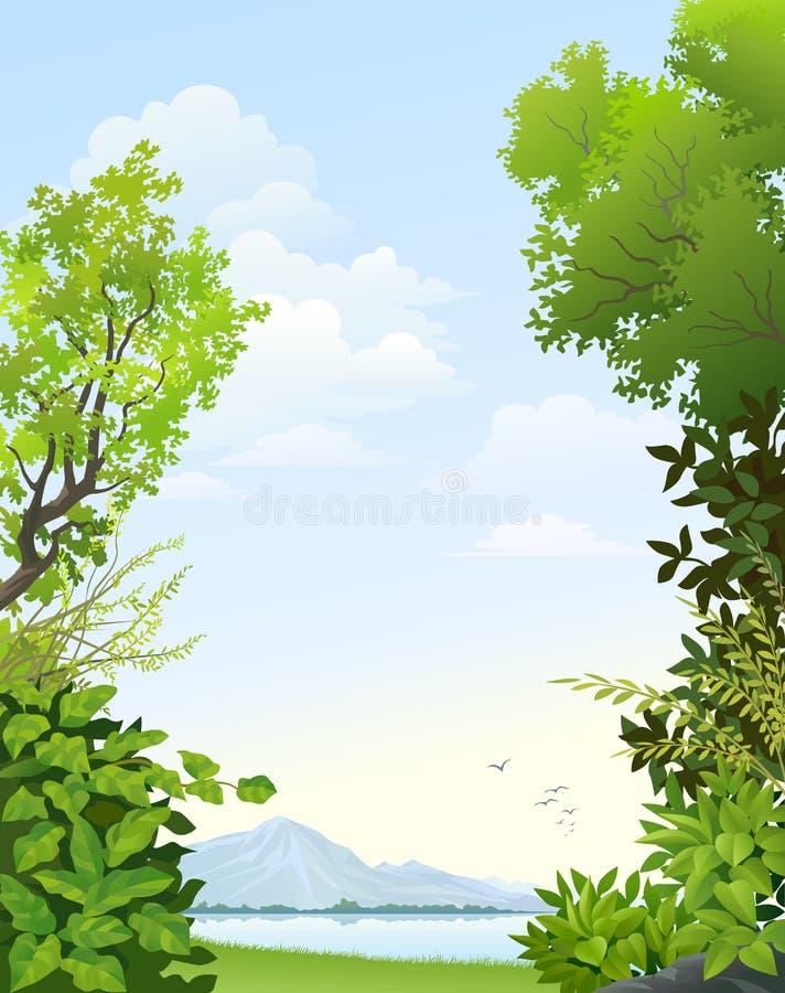 Vue scénique de lac de montagne illustration libre de droits