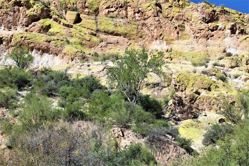 Vue scénique de paysage du MESA, Arizona aux collines de fontaine, le comté de Maricopa, Arizona, Etats-Unis images stock