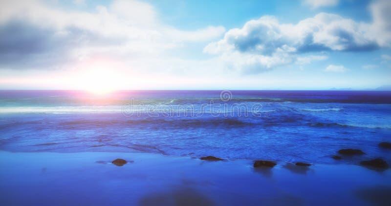 Vue scénique de paysage marin illustration stock
