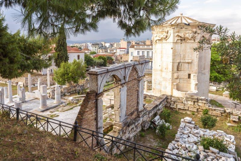 Vue scénique de Roman Agora avec la tour des vents ou de l'Aerides, Athen photos stock