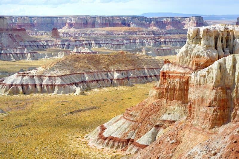 Vue scénique des porte-malheur rayés blancs renversants de grès en canyon de mine de charbon près de ville de tuba, Arizona photo stock