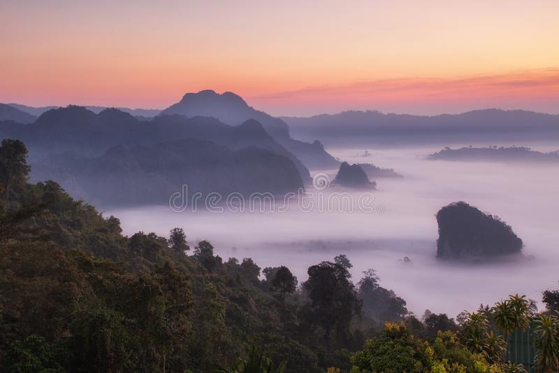 Vue scénique et brouillard de paysage de montagne sur la colline en ka Forest Park pendant le lever de soleil, point de repère na photographie stock libre de droits