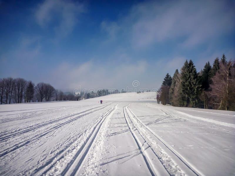 Vue scénique sur les traînées de ski nordiques parfaites près de Na Morave de Nove Mesto photographie stock libre de droits