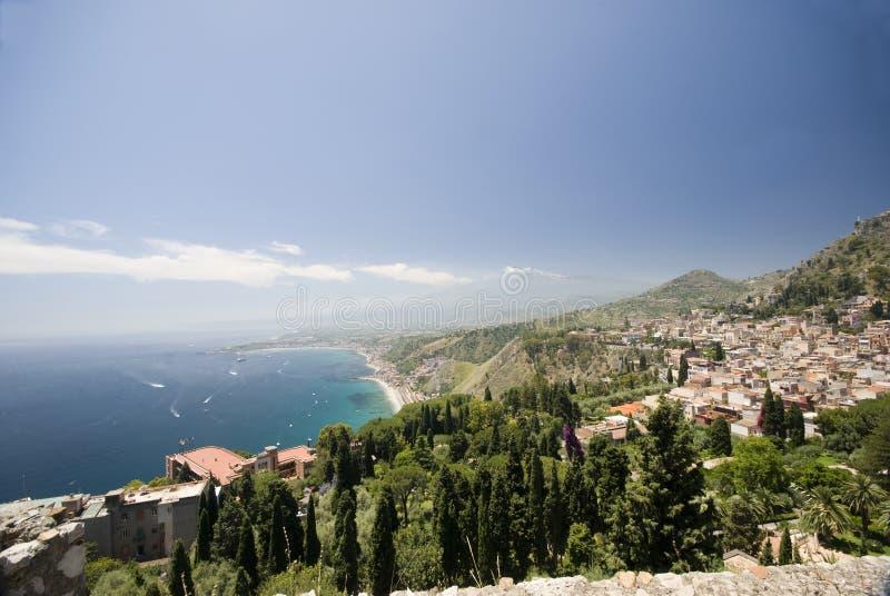 vue Sicile d'horizontal de taormina photo libre de droits