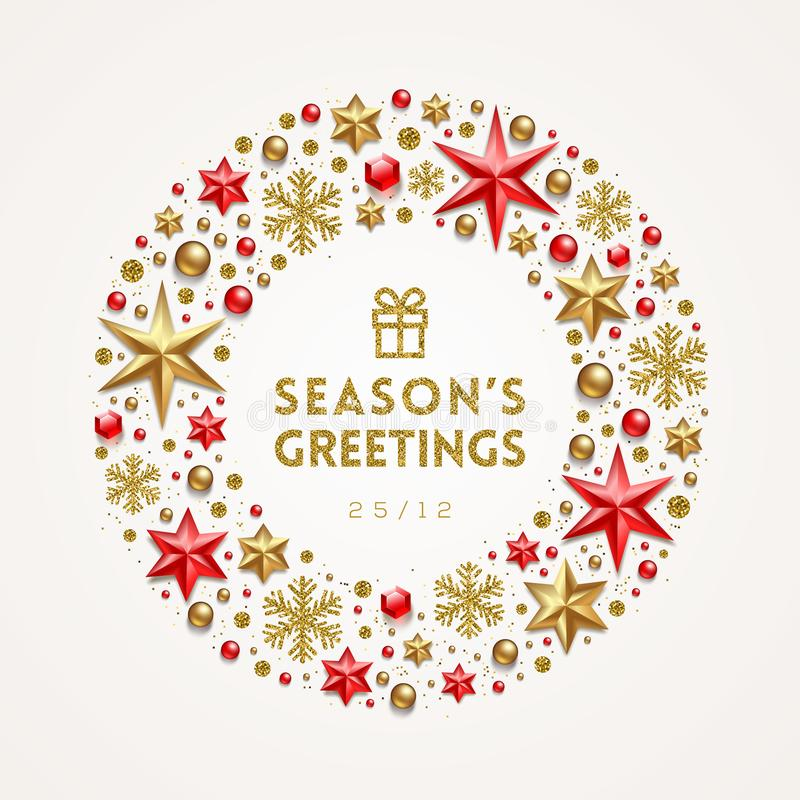 Vue sous forme de guirlande de Noël faite à partir des étoiles, des flocons de neige de gemmes rouges, des perles et de l'or d'or illustration stock