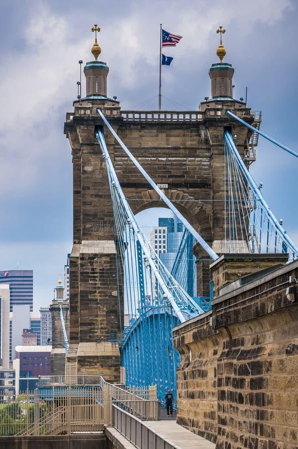 Vue sous John A. Roebling Suspension Bridge image stock