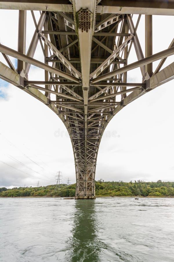 Vue sous le pont de Britannia de dessous images libres de droits