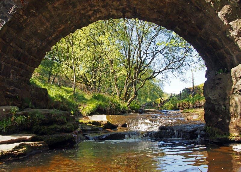 Vue sous le vieux pont de cheval de bât aux chutes de trou de lumb dans la région boisée au doyen de crimsworth près du pecket bi photographie stock