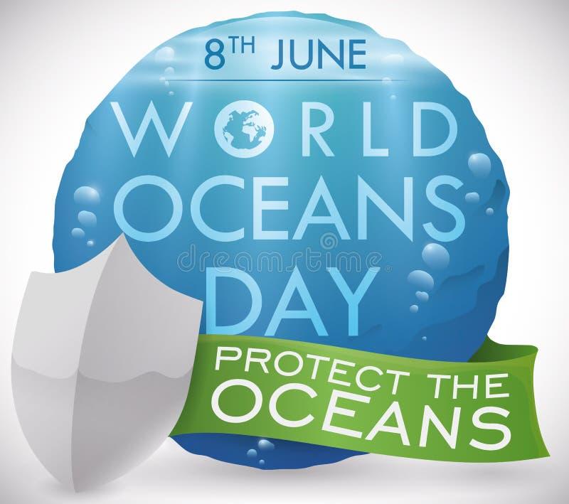 Vue sous-marine dans le bouton, le bouclier et le ruban pour des océans jour, illustration de vecteur illustration de vecteur
