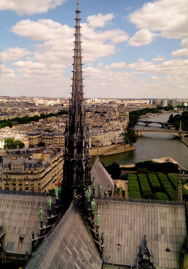 Vue stupéfiante de Paris du toit de Notre Dame photo libre de droits