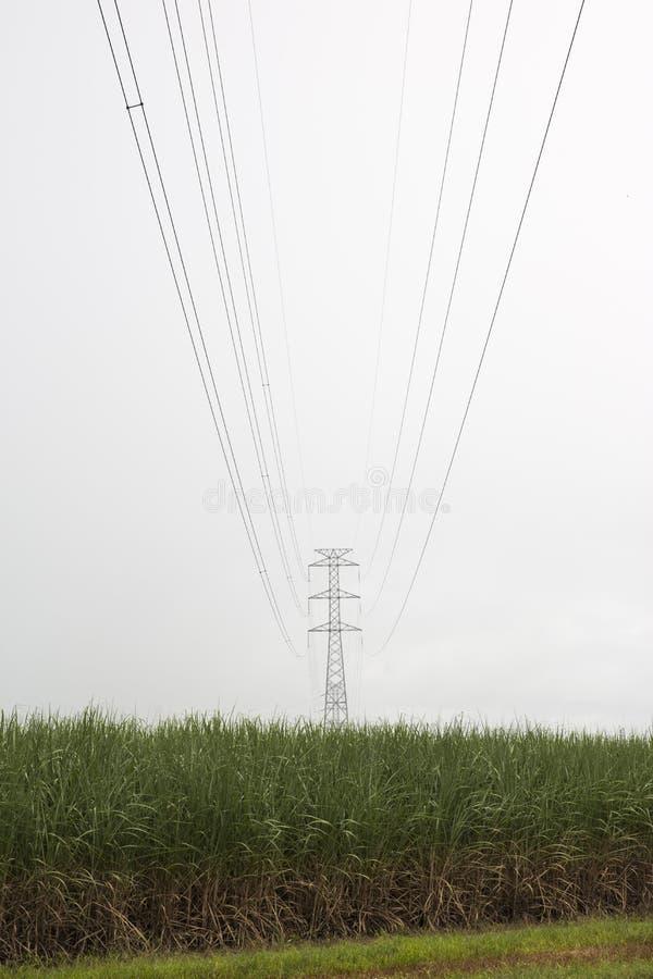 Vue suivant la ligne à haute tension de transmission images stock